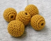 ALL NATURAL BEADS Mustard Yellow Set of 5 Pieces Crocheted 15mm  Cotton and Wood Beads GREAT SUPPLIES for Necklace Bracelet Charms Pendants Bookmarks Decoration Crafting Projects WHOLESALE AVAILABLE