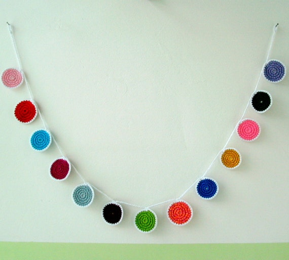 Crochet Garland - Colorful Dots - Crochet Bunting - Circles Bunt - Wall Decor - Festive Hanging - OOAK
