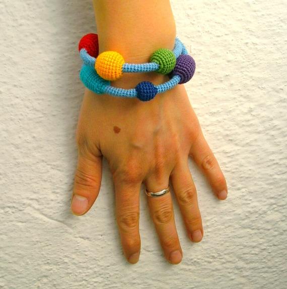 Crochet Bracelet / Wrap Bracelet - Colorful Bracelet - Rainbow Bubbles Wrap Cotton Bracelet - Crochet Beads Bracelet