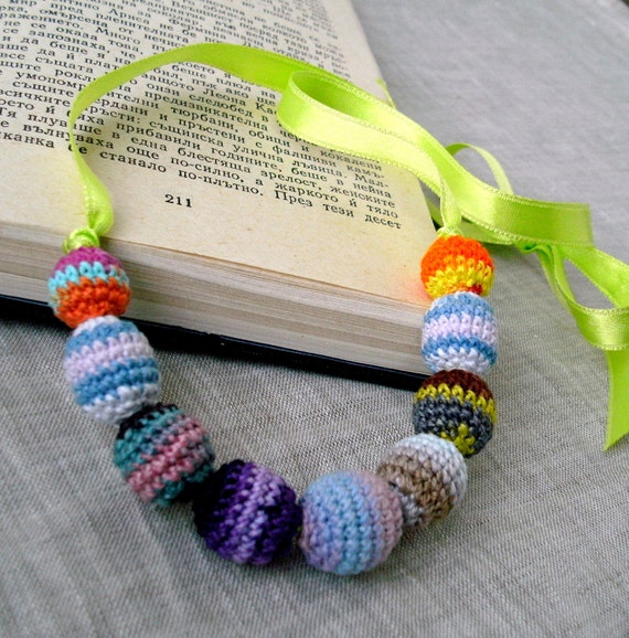 Baby Children's Necklace or Wrap Bracelet - Colorful Baby Jewelry - Crochet Beads Necklace - Crochet Jewelry - OOAK