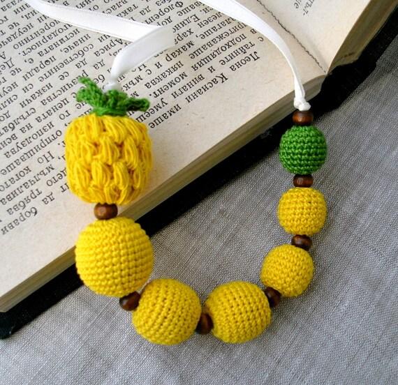 Children's Necklace - Crochet Beads Necklace - Amigurumi Pineapple Necklace - Crochet Jewelry - Baby Necklace - Textile Jewelry