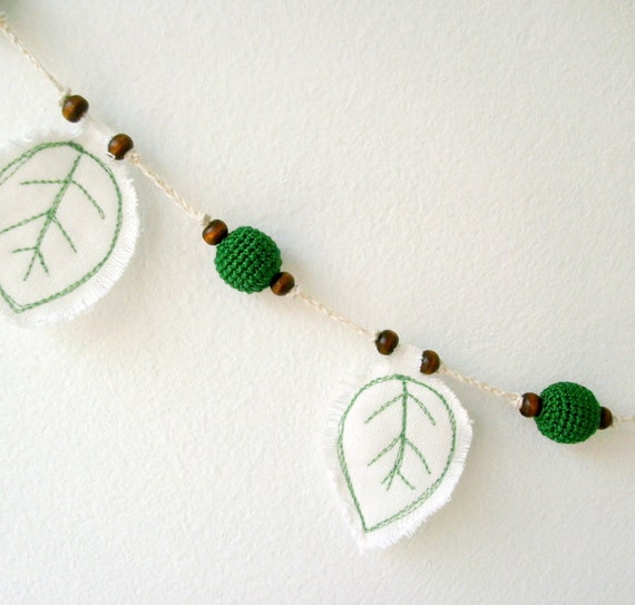 Reserved for linkeldesigns Crochet Garland - Wall Hanging - Bunting - Green Crochet Beads and Linen Leaves Banner - OOAK