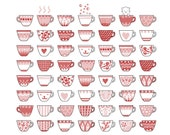 100 Cups of tea and a cupcake Print 8 x 11.5 - Romantic original collection of decorate cups.