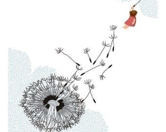 Freedom dandelion whimsical blue white illustration - Freedom Print 8 x 11.5