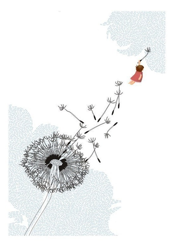 Freedom dandelion whimsical blue white illustration - Freedom Print 8 x 11.5