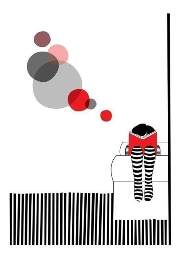 Read book girl red stripes circles - Sunday Print 8 x 11.5