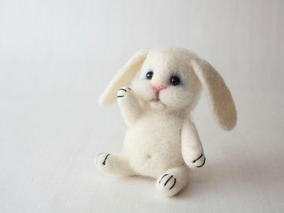 Little Wool White Bunny, Miniature Needle Felted Soft Sculpture