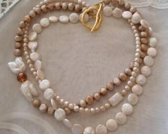 Coin Pearl Necklace, 3 Strand White Champagne Baroque and Ivory Pearl Necklace with Crystal Beads 18 inches