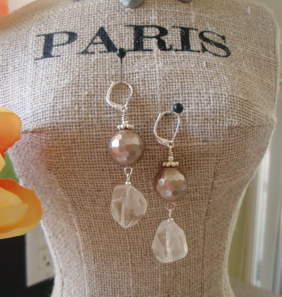 Faceted Pearl and Cut Crystal Drop Earrings