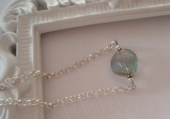 Ankle Bracelet with Green Faceted Chinese Crystal and Silver Chain