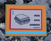 Enjoy Every Sandwich Birthday Card with Warren Zevon Quote - customizable greeting