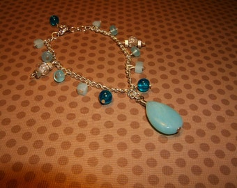 natural gemstones on silver-plated chain bracelet