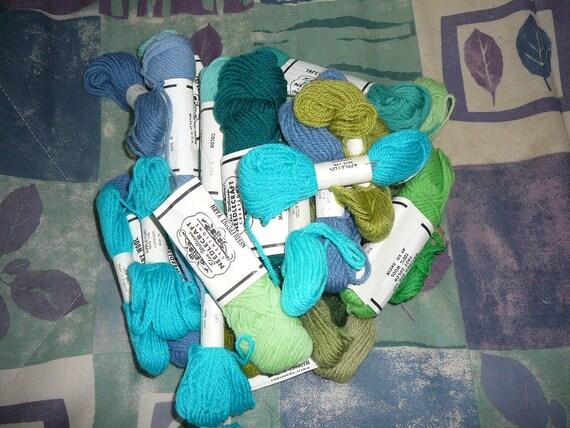 REsERVEDfor Georgiapeachez---Elsa Williams Wool Tapestry Yarn  - Lot of 28 Skeins- Greens and Blues