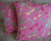 SALE Throw Pillow Cover 16 x 16 Pink Dragonfly Set of 2