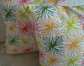 SALE Mod Flowers Pillow Cover - Set of 2 - Orange, Yellow, Red, Green Mod Daisies