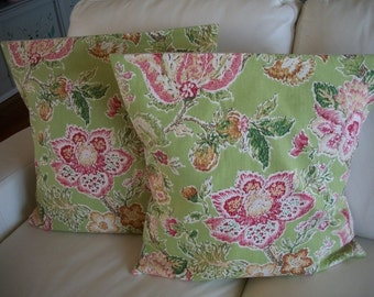 SALE ~  Throw Pillow Cover ~ Set of 2 Pillow Covers ~ 18 x 18 Pillow Cover ~  Mod Floral Pink and Green  Pillow Cover ~ 18 x 18