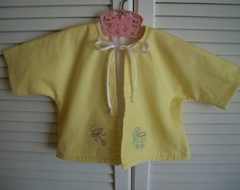Embroidered Yellow Baby Kimono Jacket