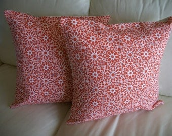 Throw Pillow Cover, Orange Pillow Cover, 18 x 18 Pillow Cover, Sale Pillow Cover Set of 2 Pillow Covers