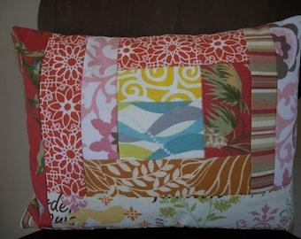 Patchwork Pillow Cover ~ Modern Patchwork ~ 12 x 16 Pillow Cover ~ Cushion Cover ~ Scrappy Patchwork