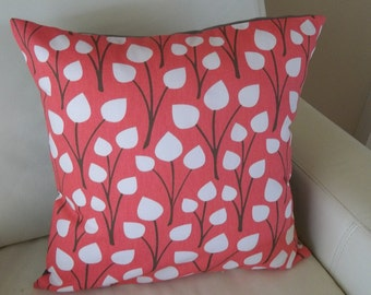 Dwell Studio Throw Pillow Cover Coral and Gray 16 x 16