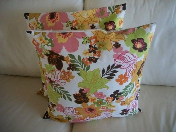 Pillow Cover 18 x 18 Set of 2 Mod Floral Throw Pillow Cover, Pair Pillow Covers, Decorative Floral Pillow