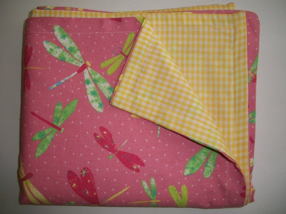 Picnic Tablecloth Dragonfly Pink, Yellow, Green
