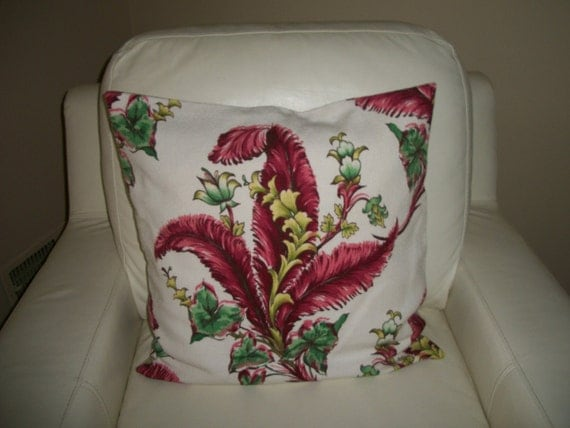 Vintage Barkcloth Floral Fern Pillow Cover Fits 18 x 18 or 20 x 20 Insert