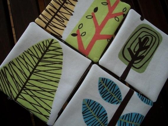 Modern Trees Fabric Coasters - Set of 4