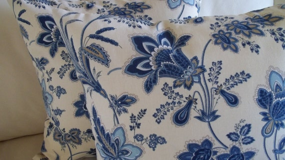 Blue Jacobean Floral Pillow Cover Set of 2 for 18 x 18 Pillow