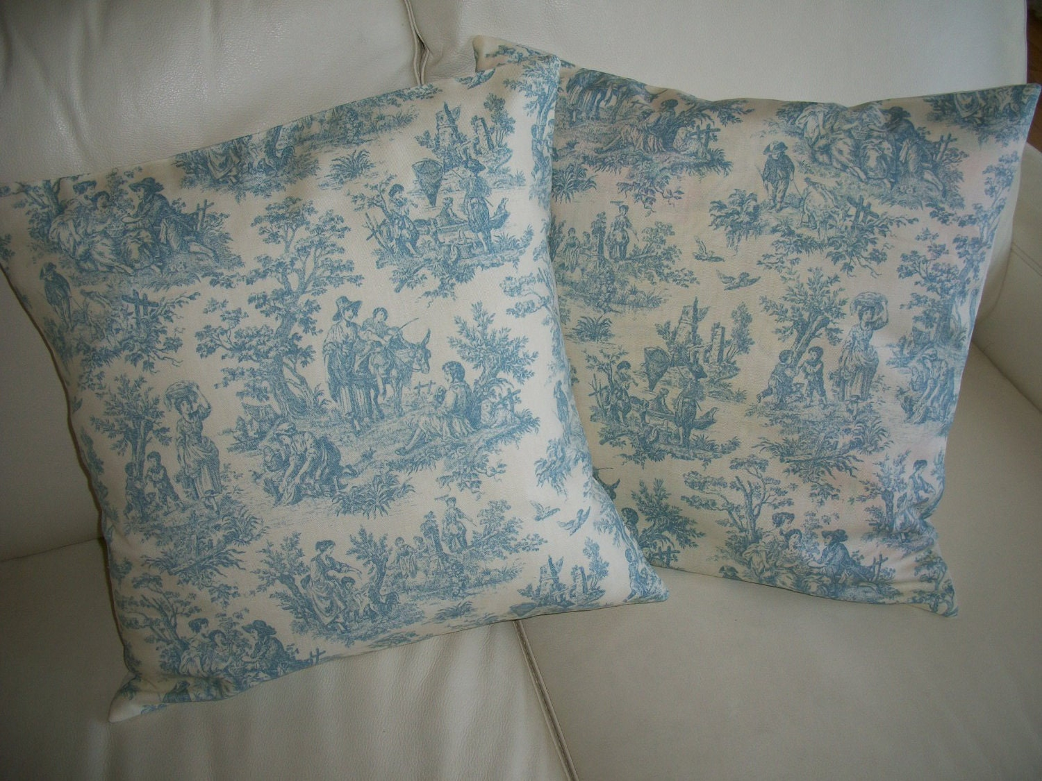 Decorative Throw Pillow Cover Blue Toile 18x18 by CottageDayDreams