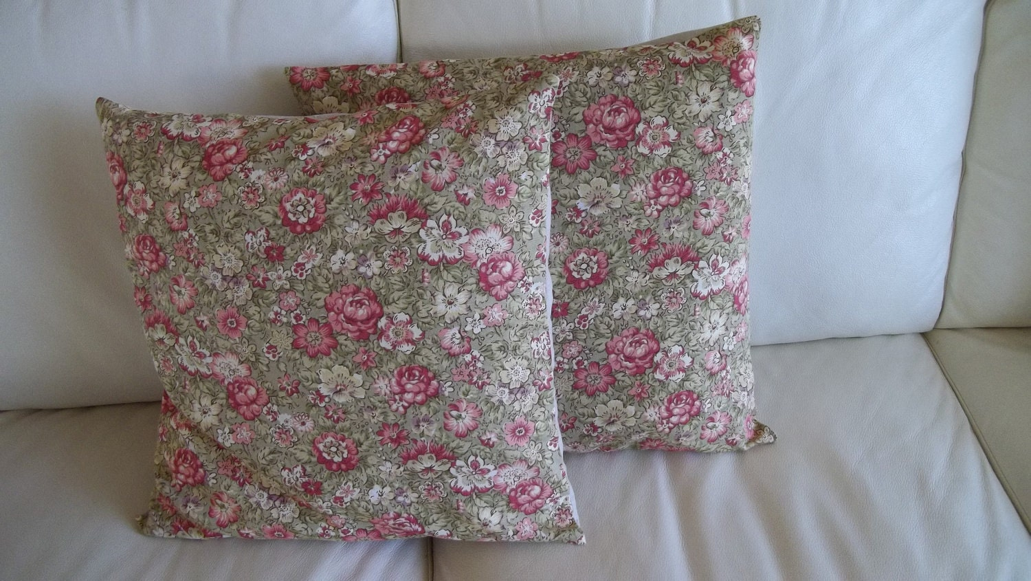 Shabby Chic Floral Throw Pillows : SALE Pair Throw Pillow Cover Shabby Chic Rose Floral 18 x 18