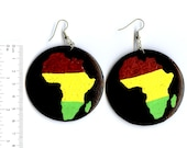 Rasta- Africa 'red gold and green' -handpainted wooden earrings