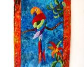RESERVED fOR ELIZABETH - Art Quilt Wall Hanging Applique Tropical Sizzle Parrot Batik Orange Blue Green