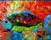 Wall Art Quilt Fish Wall Hanging Batik OOAK Handmade