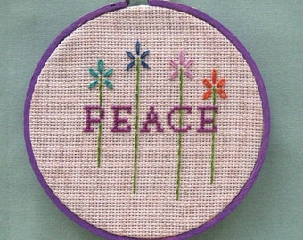 Wall Hanging Peace Embroidery Cross Stitch Embroidery Flower Child Purple Aqua Orange