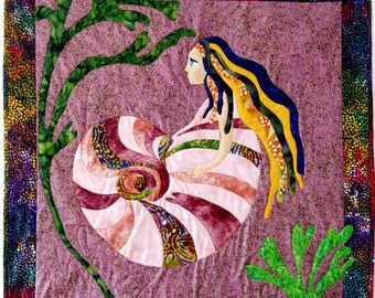 Mermaid Quilt Wall Hanging Wall Art Applique Sea Witch Batik Blue Purple Gold Green