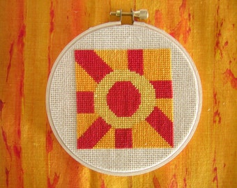 Wall Hanging Geometric Fabric Art Cross Stitch Hot Rays Orange Red  Gold