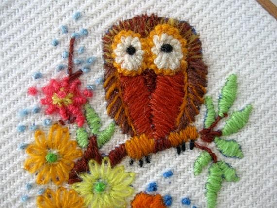Embroidered Owl Wall Hanging Hoop Art Orange Brown Gold