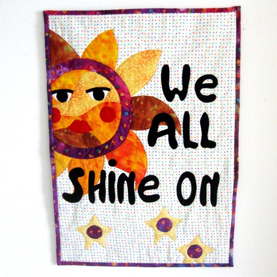 Wall Art Quilt Celestial Sun Stars Beatles We All Shine On Orange Purple Gold