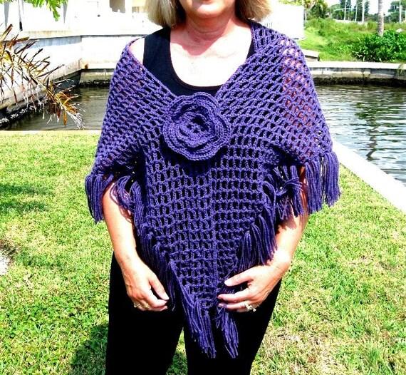 Crochet Shawl Shoulder Wrap Purple Plum Grape Netted Fringed Flower Pin