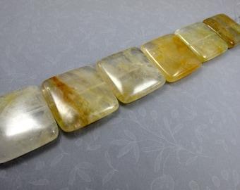 30mm Yellow/Green Iron Quartz Square Shape 6 Pcs