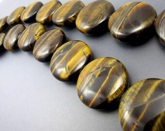 22mm Chatoyant Tiger Eye Coin 9 Pcs ZT3358