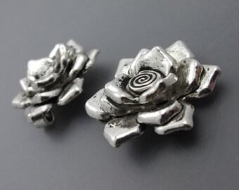 Antique Silver Rose Pewter Pendants  ZP3439