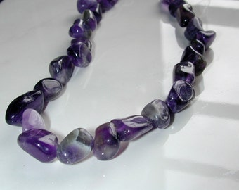 GIVE-AWAY Almost FREE 16 Inches strand 10 mm Genuine Amethyst Nugget  A3127