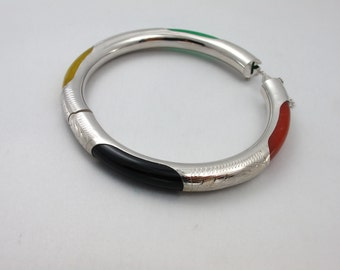 Sterling Silver Gemstone Bangle Bracelet Jewelry, Natural Black Onyx And MulticolorJade Silver Bangle, Gemstone Silver Bracelet Jewelry