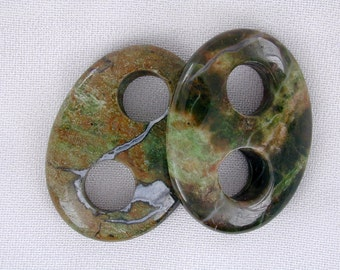 40mm Rain Forest Green Opal Double Holes Oval Focal Beads (2 pcs)  RG3072