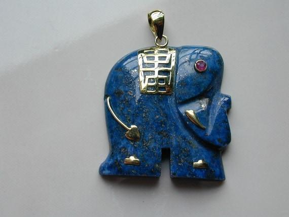 14k Gold Lapis Lazuli Elephant Pendant With A Ruby Eye