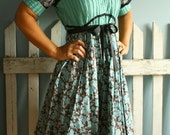 Teal 40s Style Dress Upcycled Green Handmade XLarge 'GLADIOLA'