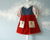 Toddler Blue Red Hooded Upcycled Dress Girl's Corduroy Country 2T 3T 'PRAIRIE WIND'