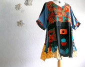 Plus Size 3X Funky Top Women's Colorful Wearable Art Shirt Blue Red Black Upcycled 'CIMARRON'